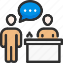 communication, conversation, discussion, people, question, reception, receptionist
