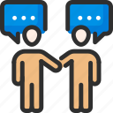 chat, communication, conversation, discussion, handshake, people, talk icon