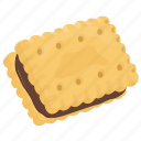 chocolate sandwich biscuit, cream inside biscuit, crumb, crunch snack icon