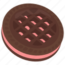 butterscotch chocolate sandwich cookie, chocolate sandwich biscuit, creamy dessert, dark chocolate, pink cream icon
