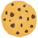 brown cookie, chocolate chip cookie, chocolate chips, confectionery, sweet snack icon