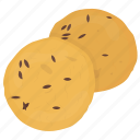 baked food, biscuit, cumin cookie, refreshment, salty cookies icon