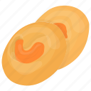 bakery food, biscuit, butter cookie, confectionery, frosted cashew cookies icon