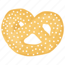 bakery food, bread, breakfast, pastry, pretzel icon