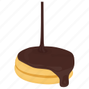 chocolate biscuit, chocolate cookie, cookie with chocolate syrup, creamy breakfast, sweet snack icon