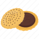 chocolate cookie, chocolate sandwich cookie, dessert, sandwich biscuit, snack icon