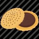 chocolate cookie, chocolate sandwich cookie, dessert, sandwich biscuit, snack icon