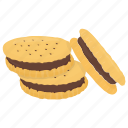 chocolate cookie, dessert, sandwich biscuit, sandwich cookie, snack icon