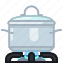 burner, cooking, flames, kitchen, lid, pot, yumminky icon