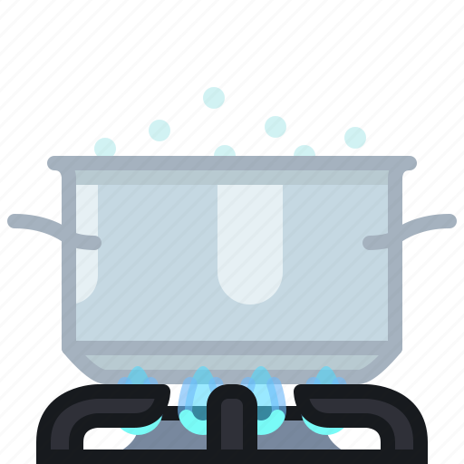 boil, burner, cooking, flames, kitchen, pot, yumminky icon