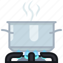 burner, cooking, hot, kitchen, pot, steam, yumminky icon
