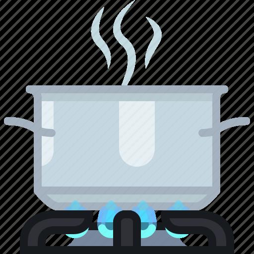 burner, cooking, hot, kitchen, pot, steam, yumminky icon