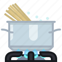 burner, cooking, kitchen, pasta, pot, spaghetti, yumminky icon