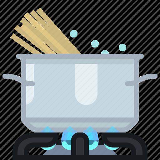 burner, cooking, kitchen, pasta, pot, spaghetti, yumminky icon