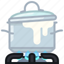 boil, burner, cooking, kitchen, lid, pot, yumminky icon