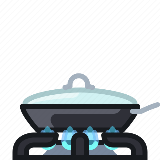 burner, cooking, frying, kitchen, lid, pan, yumminky icon