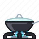 burner, cooking, frying, kitchen, lid, pan, yumminky icon