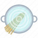 cooking, kitchen, pasta, pot, spaghetti, water, yumminky icon
