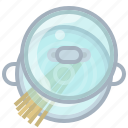 cooking, kitchen, lid, pasta, pot, spaghetti, yumminky icon