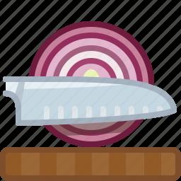 chopping board, cooking, cutting, kitchen, knife, onion, yumminky icon