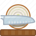 chopping board, cooking, cutting, kitchen, knife, onion, yumminky icon