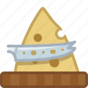 cheese, chopping board, cooking, cutting, kitchen, knife, yumminky icon
