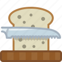 bread, chopping board, cooking, cutting, kitchen, knife, yumminky icon