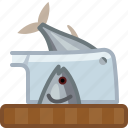 axe, chopping board, cooking, cutting, fish, kitchen, yumminky icon