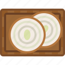 chopping board, cooking, food, kitchen, onion, slices, yumminky icon