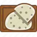 bread, chopping board, cooking, food, kitchen, slices, yumminky icon