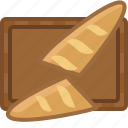 baguette, chopping board, cooking, cutting, kitchen, pastry, yumminky icon