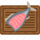chopping board, cooking, fish, food, kitchen, meat, yumminky icon