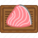 chopping board, cooking, fish, kitchen, meat, salmon, yumminky icon