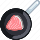 cooking, fish, food, frying, pan, salmon, yumminky icon
