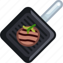 cooking, food, frying, meat, pan, steak, yumminky icon