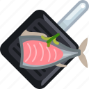 cooking, fish, frying, kitchen, meat, pan, yumminky icon