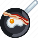 cooking, egg, frying, ham, kitchen, pan, yumminky icon