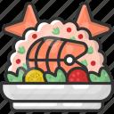 dinner, fish, food, steak, tuna