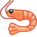 cooking, crevette, crustacean, food, gastronomy, ingredient, yumminky icon
