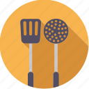 cooking, equipment, kitchen, ladle, spatula, utensil