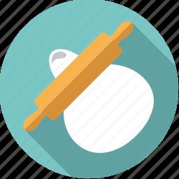 baking, dough, equipment, household, kitchen, rolling pin, utensil icon