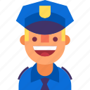 avatar, cap, cop, man, officer, police, uniform icon