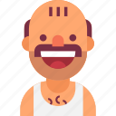 avatar, bald, funny, man, mustache, neighbor, singlet icon