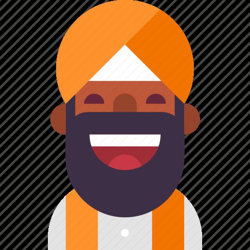 avatar, beard, indian, man, muslim, punjab, turban icon
