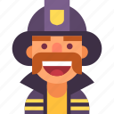 avatar, firefighter, fireman, helmet, man, mustache, uniform icon