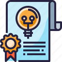 certificate, copyright, document, education, idea, patent icon
