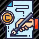 copyright, document, paper, report, signature, write