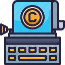 copyright, document, report, typewriter, typing icon