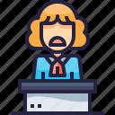 avatar, job, judge, judgment, lawyer, people icon