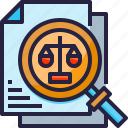 discovery, document, judgment, paper, report icon